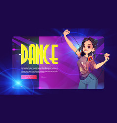 Dance party banner with girl dj with headphones vector