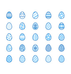 easter food flat line icons set painted eggs egg vector image