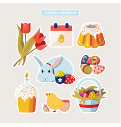 easter stickers vector image