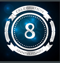 eight years anniversary celebration with silver vector image