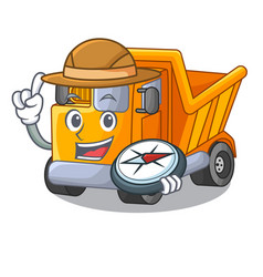Explorer truck on highway road with mascot vector