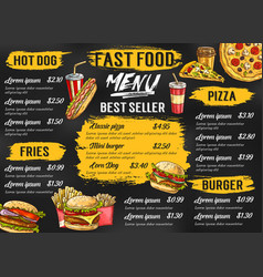 Fast food restaurant menu sketch template vector