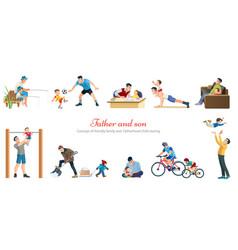 fatherhood child-rearing playing walking fishing vector image