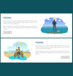fishing people hobbies set on web posters anglers vector image