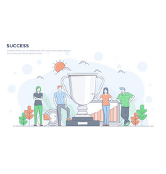 flat line modern concept - success vector image
