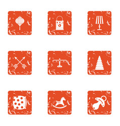 floor for child icons set grunge style vector image