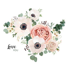 Floral card design with lavender pink flowers vector