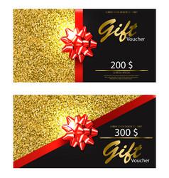 Gift voucher realistic golden glitter card vector