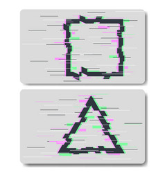 glitch effects in square and triangular shape vector image