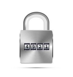 glossy metal realistic padlock with code numbers vector image