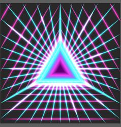Glowing neon portal triangle geometric shape with vector