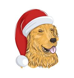 Golden retriever wears christmas hat vector