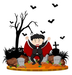 graveyard scene with vampire and bats vector image