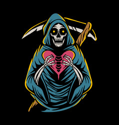 grim reaper holding heart sign vector image