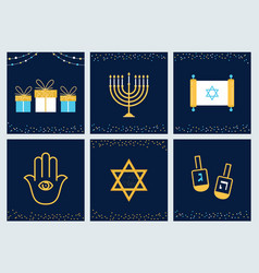 Hanukkah greeting cards with jewish symbols vector