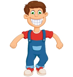 happy little boy cartoon jumping vector image