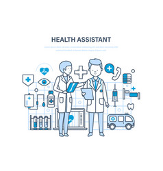Health assistant concept joint work assistant vector