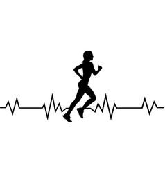 Heart beat runner girl quote on white background vector