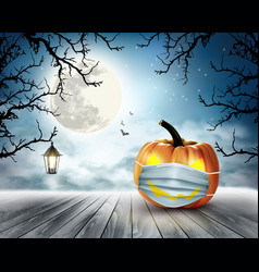 Holiday halloween background with pumpkin wearing vector
