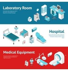 Hospital Medical Equipment Flat Banners Set vector image
