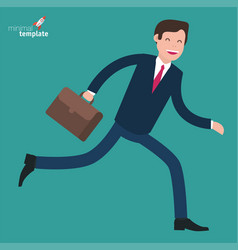 Hurry runing businessman in rush vector