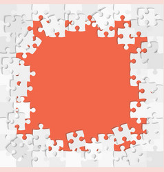Jigsaw puzzle grey pieces frame banner vector