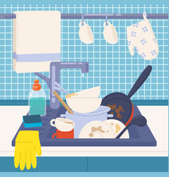 Kitchen sink full of dirty dishes or kitchenware vector