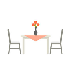 Kitchen table flat isolated vector