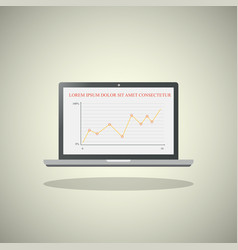 laptop with chart on screen on light background vector image