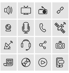 line media icon set vector image