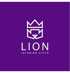 Lion crown as trend logo gifts flat style art vector image