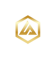 Luxury minimalist logo for letter a in a triangle vector