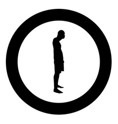 man closing his eyes his hands silhouette side vector image