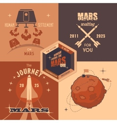 Mars colonization program flat design labels vector image