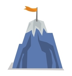Mountain peak with flag vector