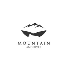 mountain river logo design template vector image