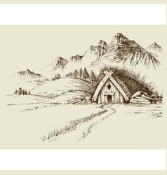 Nature camping mountain hut hand drawn natural vector