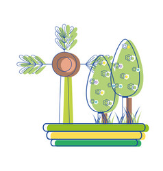Nice trees with flowers and plant with branches vector