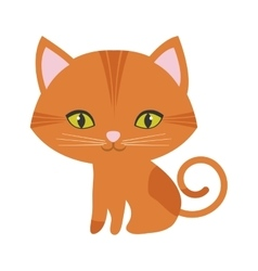 Orange small cat sitting green eyes vector