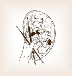 Palette in artist hands engraving vector