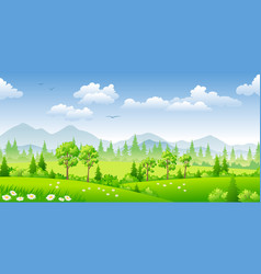 Panorama summer landscape with trees vector