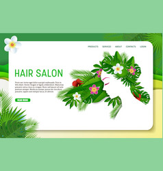 Paper cut hair salon landing page website vector