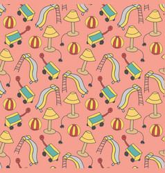 pattern seamless kids with outdoor doodle element vector image