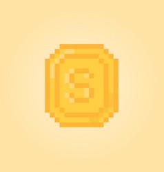 pixel art money for 8 bit video game vector image
