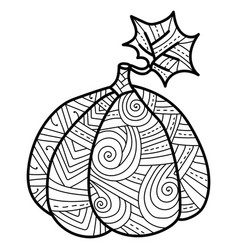 Pumpkin with leaf with fantasy patterns ornate vector