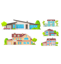 real estate houses residential cottage buildings vector image