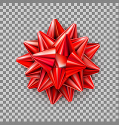 red realistic bow with ribbons isolated on vector image