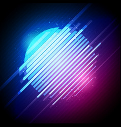 Retro 1980s glowing neon sun glitch distortion vector