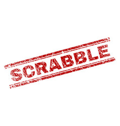 Scratched textured scrabble stamp seal vector