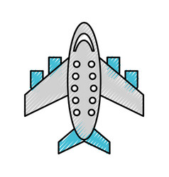 Scribble airplane cartoon vector